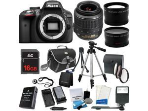 Nikon D3300 24.2MP 1080p HD Video DSLR Camera + 18-55mm - 3 Lens Kit + 16GB + Reader + Case + Extra Battery & More