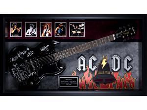 AC/DC Band Autographed 'Hells Bells' Signed Guitar in Framed Case