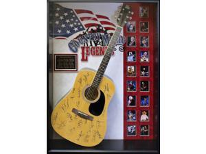 Country Music Legends - Signed Guitar USA Themed in Wood Framed Case