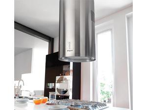 NT AIR Island Range Hood Stainless Steel Round Chimney KA-123-CS