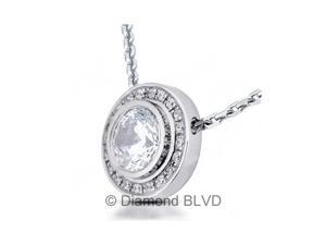 0.57 CT G-SI2 VG Round Earth Mined Diamonds 18K Bezel Settings Halo Pendant 2.40 Grams