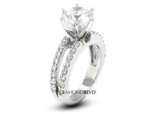 1.57 CT F-VS2 Ideal Round Earth Mined Diamonds 14K 6-Prong & Pave Split Shank Wedding Ring 5.3gr