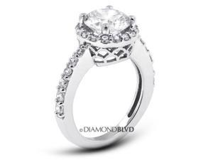 2.02 CT I-I1 VG Round Earth Mined Diamonds 14K 4-Prong & Pave Halo Wedding Ring 4.8gr