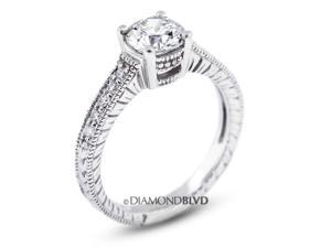 0.88 CT F-SI1 VG Round Earth Mined Diamonds 14K 4-Prong & Pave Vintage Engrave Wedding Ring 3.7gr