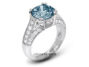 2.04 CT Blue-VS2 VG Round Earth Mined Diamonds 14K 4-Prong & Pave Vintage with Milgrain Wedding Ring 6.4gr