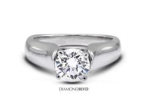 1.08CT H-SI2 EX Round Earth Mined Diamonds 18K 4-Prong Classic Engagement Ring 8.2gr