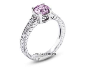 1.15 CT Purple-SI3 EX Round Earth Mined Diamonds 14K 4-Prong & Pave Vintage Engrave Wedding Ring 3.7gr