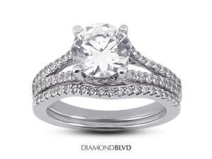 1.04 CT D-SI3 Ideal Round Earth Mined Diamonds 18K Pave Split Shank with Trellis Matching Engagement Rings 7.39gr