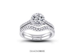 1.22 CT J-VS1 Ideal Round Earth Mined Diamonds 18K 4-Prong Halo Matching Engagement Rings 5.76gr