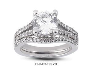 1.37 CT J-SI1 Ideal Round Earth Mined Diamonds 14K Pave Vintage Split Shank Matching Engagement Rings 5.76gr