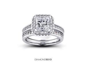 1.33 CT H-SI1 EX Princess Earth Mined Diamonds 14K V-Prong Vintage Cathedral Matching Engagement Rings 8.64gr