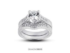 1.24 CT J-SI1 Ideal Round Earth Mined Diamonds 14K 4-Prong Vintage Cathedral Matching Engagement Rings 8.83gr