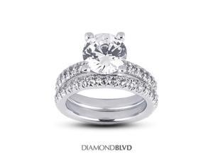 3.34 CT I-SI3 EX Round Earth Mined Diamonds 14K Pave Classic Matching Engagement Rings 10.37gr