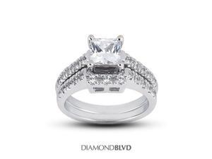 1.12 CT F-VS1 EX Princess Earth Mined Diamonds 14K Pave Vintage Basket Matching Engagement Rings 7.39gr