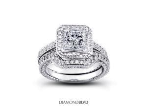 1.32 CT I-SI1 EX Princess Earth Mined Diamonds 14K V-Prong Vintage with Halo Matching Engagement Rings 8.83gr
