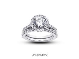 1.82 CT D-I1 VG Round Earth Mined Diamonds 14K 4-Prong Vintage Cathedral with Halo Matching Engagement Rings 6.82gr