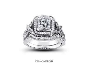 1.31 CT J-SI2 EX Princess Earth Mined Diamonds 14K Pave Vintage with Halo Matching Engagement Rings 8.54gr