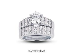 2.18 CT J-VS2 VG Round Earth Mined Diamonds 14K 6-Prong Classic Wide Band Matching Engagement Rings 10.86gr