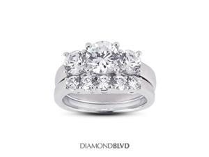 1.05 CT F-VS2 VG Round Earth Mined Diamonds 14K 4-Prong Classic Basket Matching 3-Stone Rings 6.99grams