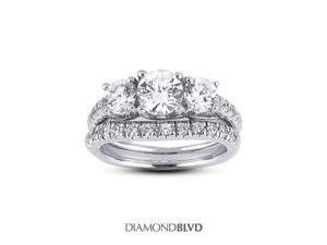 1.53 CT F-I1 EX Round Earth Mined Diamonds 14K Pave Vintage Matching 3-Stone Rings 10.23grams