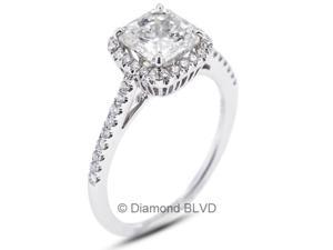 0.95 CT H-SI3 Ideal Princess Earth Mined Diamonds 18K 4-Prong & Micro Pave Halo Wedding Ring 2.7gr