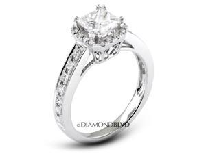 1.36 CT G-VS1 Ideal Princess Earth Mined Diamonds 18K Micro Pave & Channel Halo Wedding Ring 3.8gr