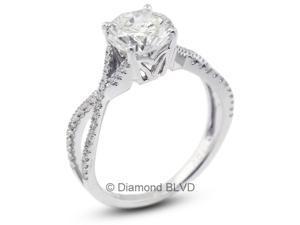 1.47 CT F-SI3 EX Round Earth Mined Diamonds 18K 4-Prong & Micro Pave Split Twist Shank Wedding Ring 3.4gr