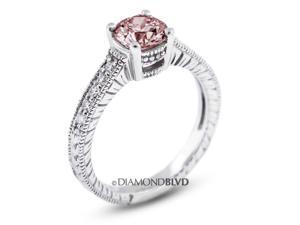 1.15 CT Pink-SI3 EX Round Earth Mined Diamonds 14K 4-Prong & Pave Vintage Engrave Wedding Ring 3.7gr