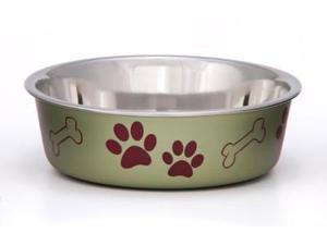 Loving Pets Metallic Bella Bowl Dog Bowl, Medium, 1 Quart, Artichoke LP7467 LOVING PETS, INC