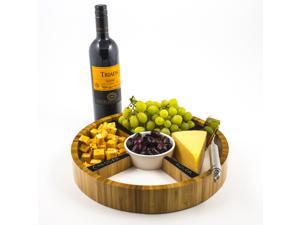 Eco-Friendly Bamboo Cheese Tray with Removable Ceramic Dish & Chalkboard Dividers - Perfect Hostess Gift, Great for Cheese, Condiments, Appetizers and Hors D'oeuvres. Round, 13""