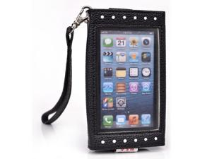 Kroo Black and White Clutch Purse with See Thru Screen for Apple iPhone 5 5 s 5 c