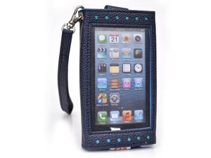 Kroo Blue Clutch Purse with See Thru Screen for Apple iPhones 5 5s 5C 4S 4