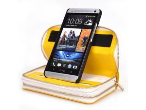 Kroo Yellow Womens Clutch Wallet Purse with Removeable Shell Case for HTC One