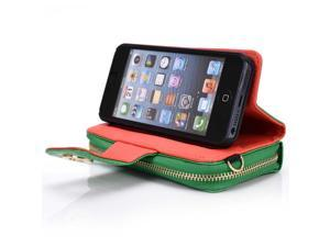 Kroo Green Magnetic clutch Wrislet Wallet Purse for Apple iPhone 5/5S