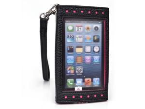 Kroo Black and Pink Clutch Purse with See Thru Screen for Apple iPhone 5 5 s 5 c