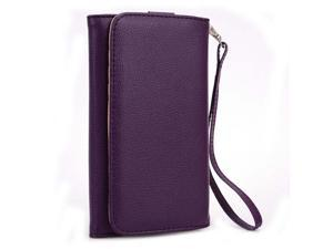 Kroo Purple Clutch Wristlet Wallet Purse with Card slots for Blu Life One M