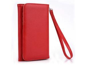 Kroo Red Clutch Wristlet Wallet Purse with Card slots for Samsung Galaxy Note I717 N7000 T879 LTE CDMA