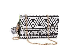 Kroo Black and White Clutch Wallet with Shoulder Strap for LG G2