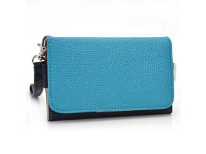 Kroo Blue and Blue Wristlet Wallet With Pouch for Smartphone up to 4 Inch