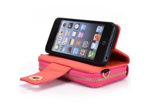 Kroo Magenta Magnetic clutch Wrislet Wallet Purse for Apple iPhone 5/5S