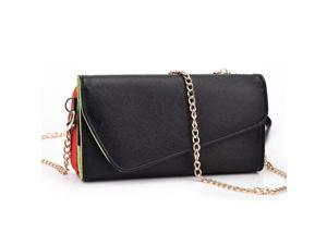 Kroo Black and Red Clutch Wallet Purse for Samsung Galaxy Avant SM-G386T w/ Shoulder Strap