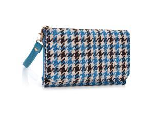 Kroo Blue Houndstooth Clutch Wristlet Wallet with Back Zipper for Smartphone up to 4 Inch
