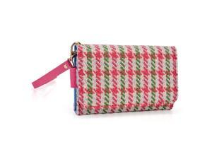 Kroo Magenta Houndstooth Clutch Wristlet Wallet with Back Zipper for Smartphone up to 4 Inch