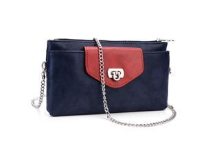 KroO Blue and Magenta Universal Clutch Wallet Purse with Crossbody Chain fits Blu Life One XL