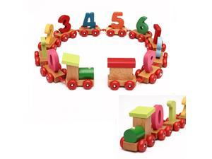 Baby Toddlers Children Wooden Digital Small Train 0-9 Number Educational Toy