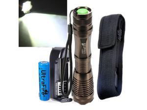 New 2000LM Zoomable CREE XM-L T6 LED Flashlight Torch Light Lamp+18650 Battery+Holder