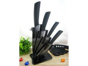 "1 Set New Ceramic Knife Set Chef Kitchen Knives 3"" 4"" 5"" 6""  Black Blade & Peeler & Acrylic Holder"