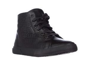 Superga 2095 Plus Croc High Top Fashion Sneakers - Total Black, 9.5 M US / 41 EU