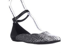 Kenneth Cole REACTION Snub City Pointed-Toe Ankle Strap Ballet Flats - Black White Snake, 6.5 M US