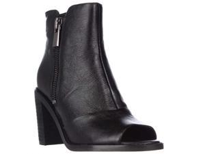 Kenneth Cole Lacey Peep Toe Double Zip Ankle Booties - Black, 5.5 M US